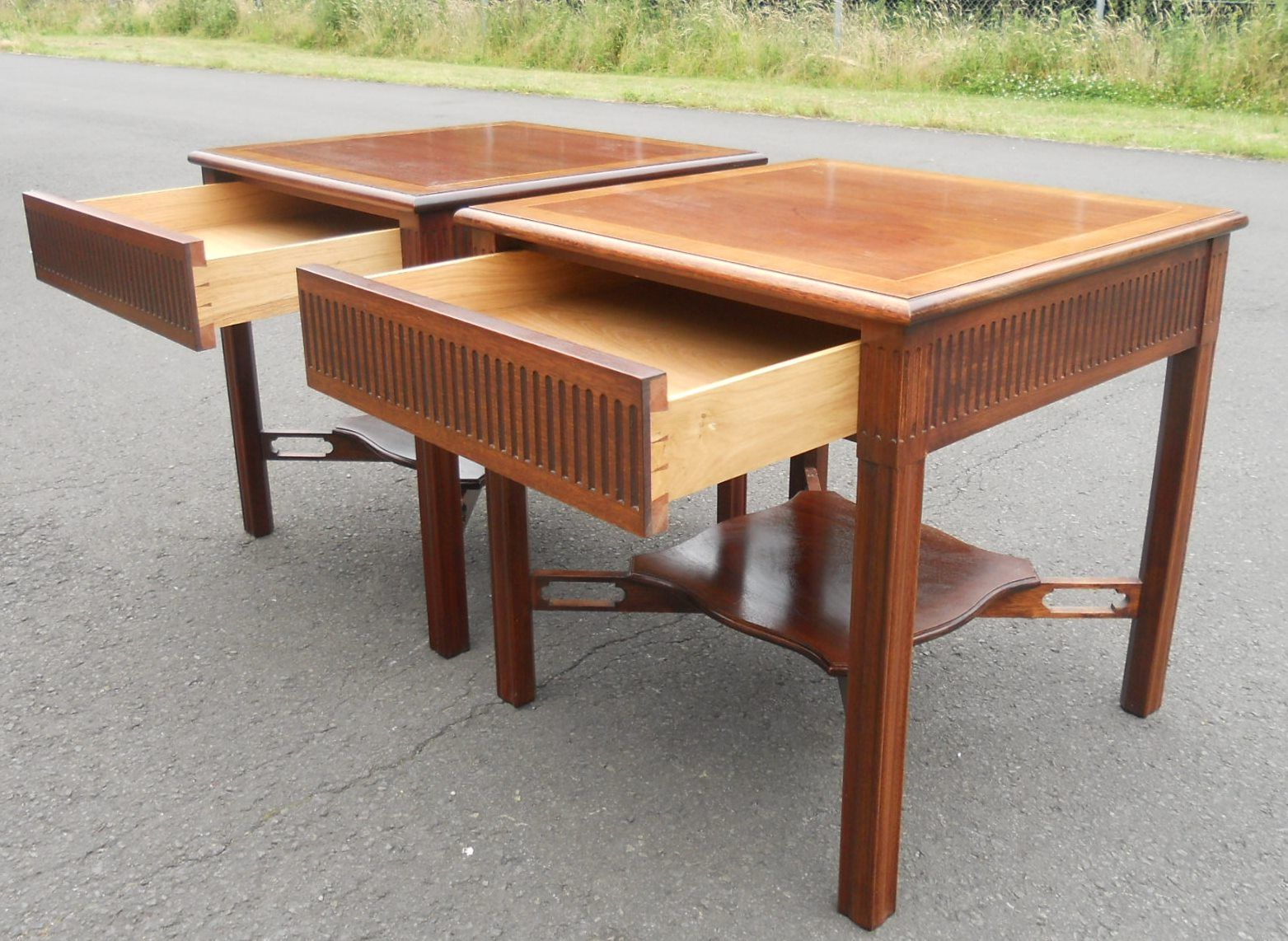 Chippendale style mahogany lamp tables pair chippendale style mahogany lamp tables geotapseo Gallery